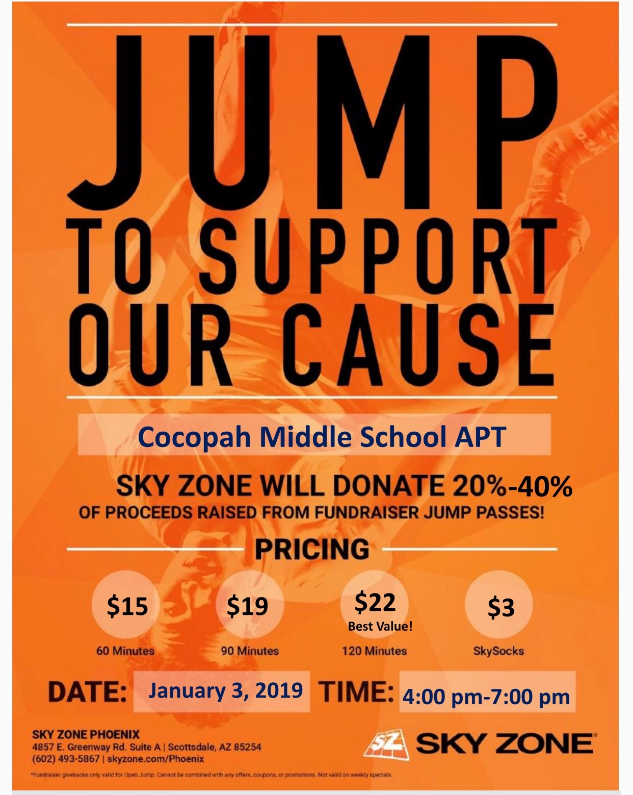 graphic about Printable Sky Zone Waiver called Sky Zone Fundraiser Celebration Cocopah Centre Higher education APT