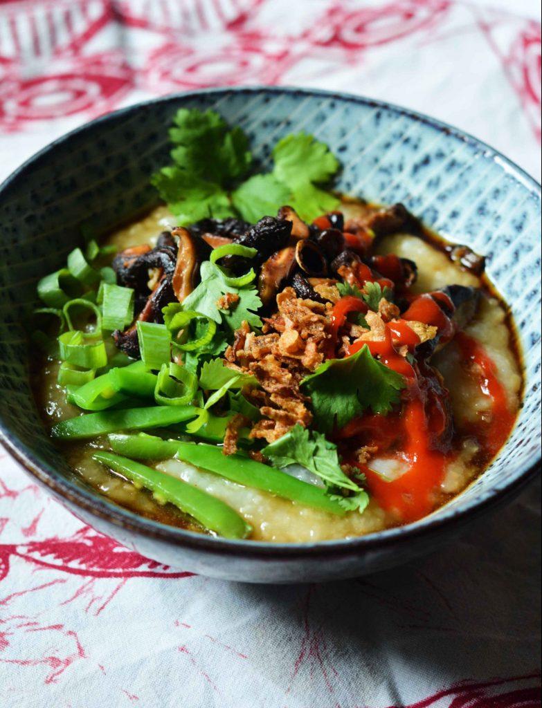 white-rice-congee-mushrooms-sugar-snaps-kimchi