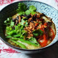 Congee with Shiitake, Sugar Snaps, and Kimchi