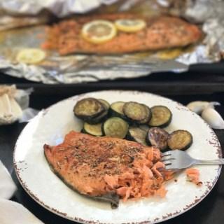 Foil Baked Sockeye Salmon w/Lemon & Rosemary