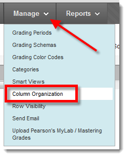 image showing Grade Center Manage menu with Column Organization selected