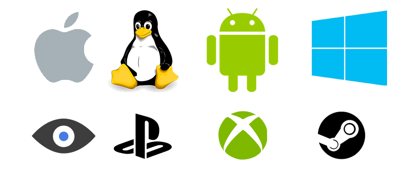 Platform Logos Mac, Linux, Android, Windows, Oculus, PS4, Xbox One, Steam