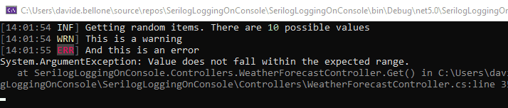 Serilog logs with a simple theme