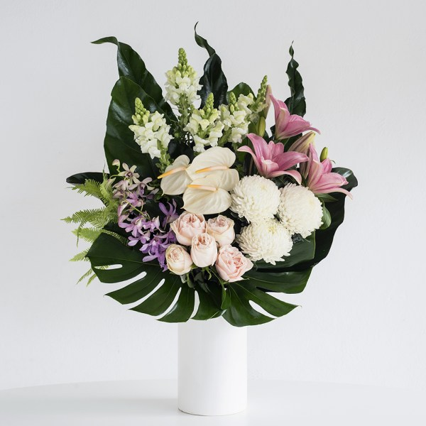 Pink & White Flowers in a Ceramic Vase