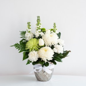 classic whites in silver vase