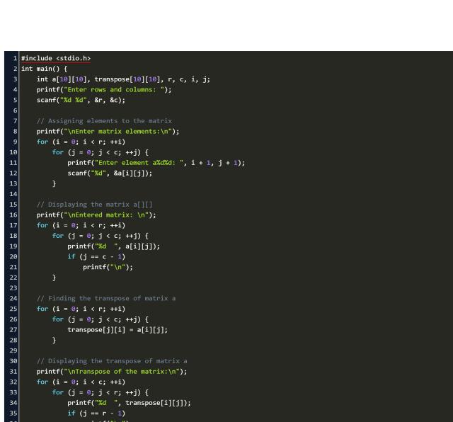 c program to perform transpose of a matrix Code Example