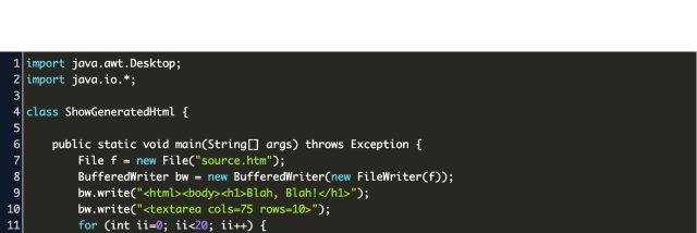 Write html into file using Java dynamically Code Example