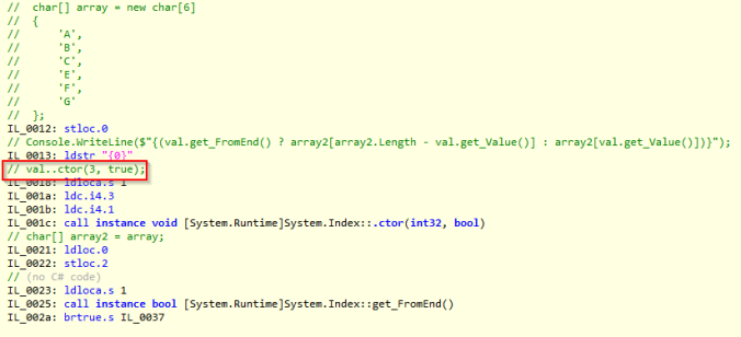 C# 8 indexes and ranges: IL Code behind ^ (hat operator)