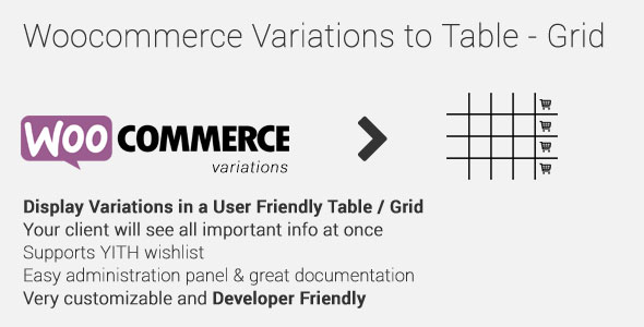Woocommerce Variations to Table - Grid v1.3.7