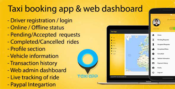 Taxi booking app & web dashboard, complete solution v2.0.1