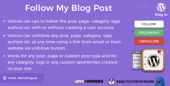 Follow My Blog Post WordPress Plugin v1.9.4