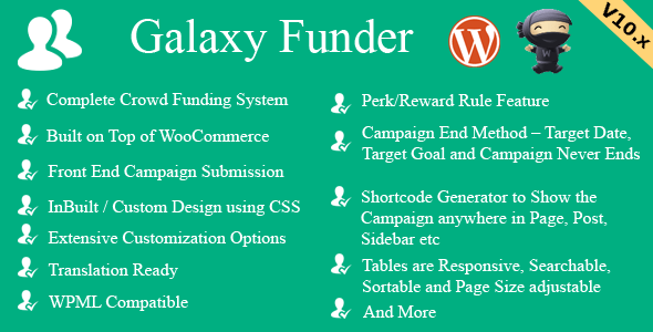 Galaxy Funder v10.2 - WooCommerce Crowdfunding System