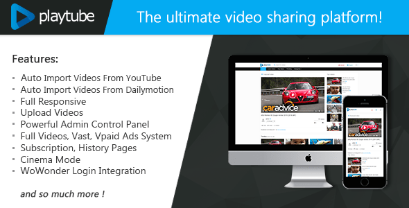 PlayTube v1.4.5.1 - The Ultimate PHP Video CMS & Video Sharing Platform