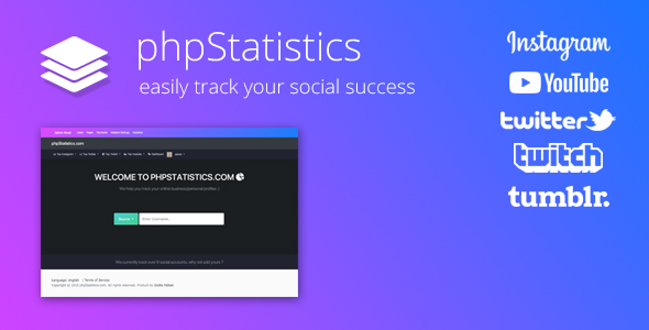 phpStatistics v2.3.1 - Social Tracking Tool for Instagram, Twitter, Twitch & YouTube