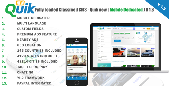 Quik new v1.3 – Fully Loaded Classified Ads CMS