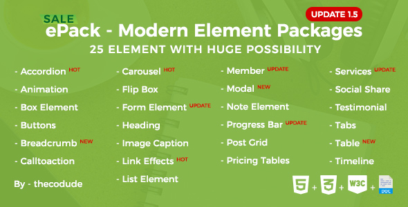 ePack v1.5 - 25 CSS3 Ultimate Element Packages