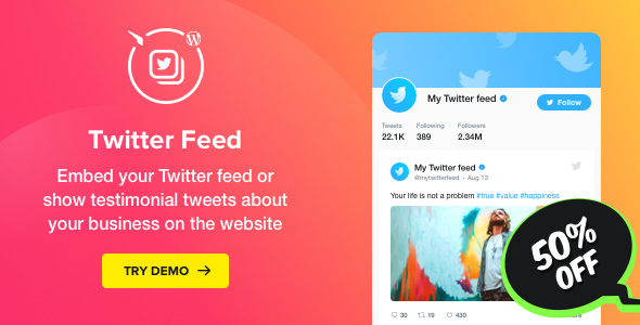 Twitter Feed v1.0.0 – WordPress Twitter Plugin