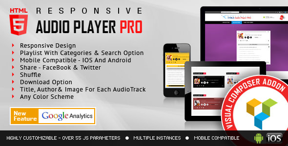 HTML5 Audio Player PRO v2.0 - WPBakery Page Builder