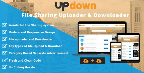 UpDown v1.3 – File Sharing Uploader / Youtube / Downloader & Blogging
