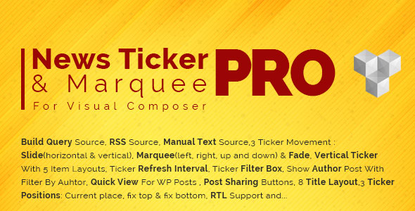 Pro News Ticker & Marquee for Visual Composer v1.3.3