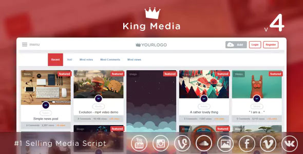King Media v4.1 - Viral Video, News, Image Upload and Share - nulled