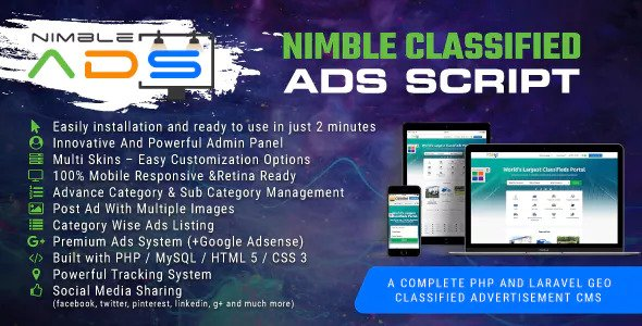 Nimble Classified Ads Script v1.19 – PHP And Laravel Geo Classified Advertisement CMS