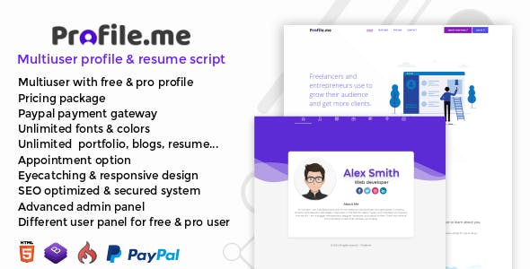 Profile me v1 0 – Multiuser Profile & Resume Script » Premium