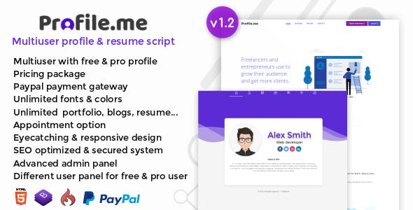 Profile.me v1.2 – Multiuser Profile & Resume Script – nulled