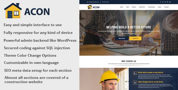 Acon v1.5 - Architecture and Construction Website CMS