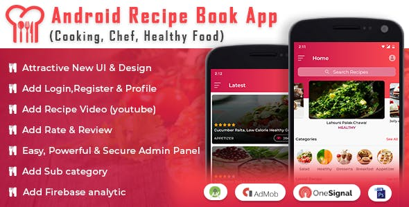 Android Recipe Book App v2.1 – (Cooking, Chef, Healthy Food, Admob with GDPR)