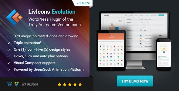 LivIcons Evolution for WordPress v2.8.387 - The Next Generation of the Truly Animated Vector Icons