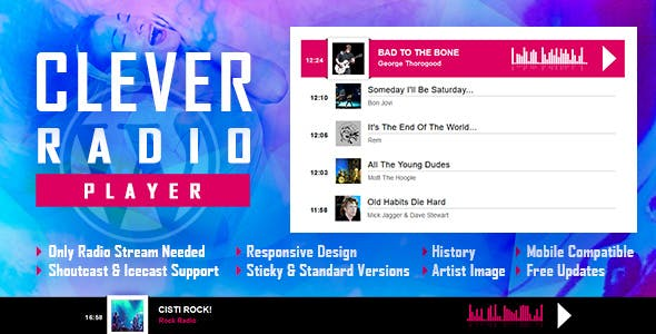 CLEVER v1.1 - HTML5 Radio Player With History - Shoutcast and Icecast - WordPress Plugin