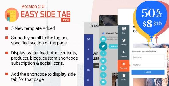 Easy Side Tab Pro v2.0.6 - Responsive Floating Tab Plugin For WordPress