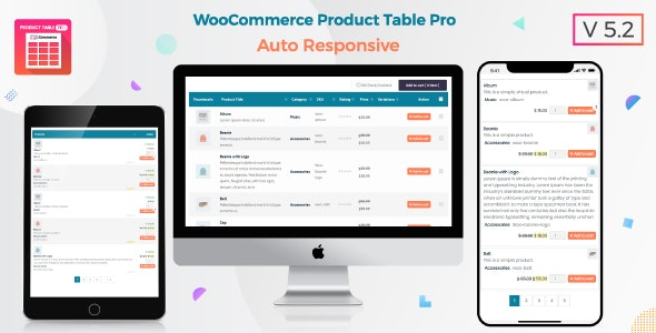 Woo Product Table Pro v5.2 – WooCommerce Product Table view solution