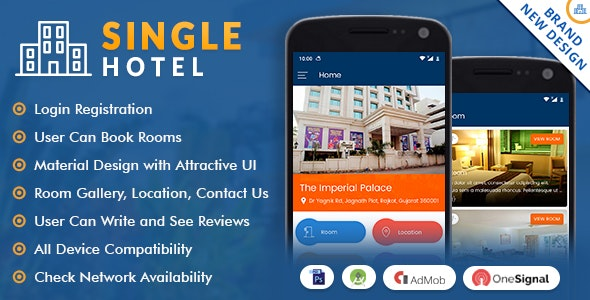 Single Hotel App with Material Design