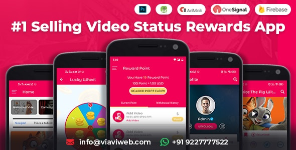Android Video Status App With Reward Points (Lucky Wheel, WA Status Saver) v4.0