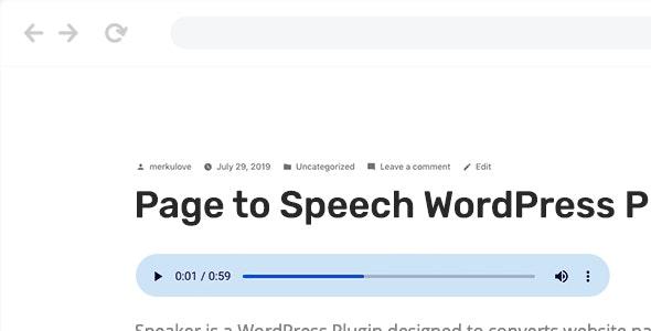 Speaker v3.0.5 - Page to Speech Plugin for WordPress