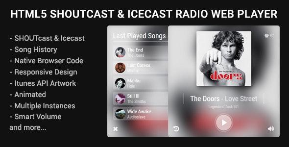 HTML5 Shoutcast & Icecast Radio Web Player v1.2