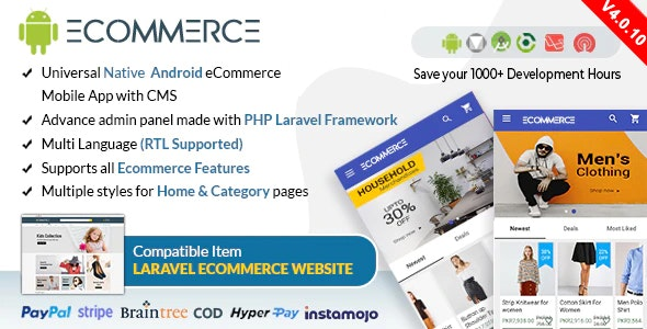 Android Ecommerce v4.0.10 - Universal Android Ecommerce / Store Full Mobile App with Laravel CMS