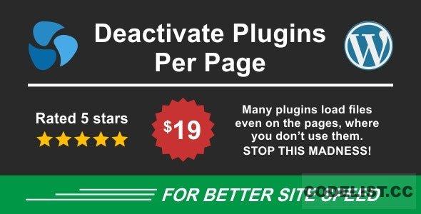 Deactivate Plugins Per Page v1.10.0 - Improve WordPress Performance