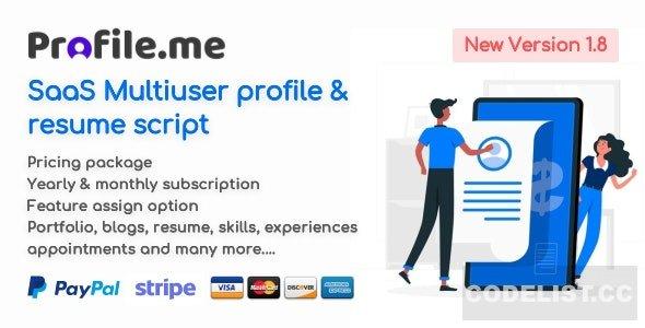 Profile.me v1.8 - Saas Multiuser Profile & Resume Script