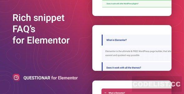 Questionar v1.0.1 – FAQ Accordions for Elementor