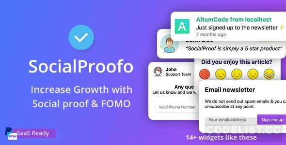 SocialProofo v1.8.1 - 14+ Social Proof & FOMO Notifications for Growth (SaaS Ready) - nulled