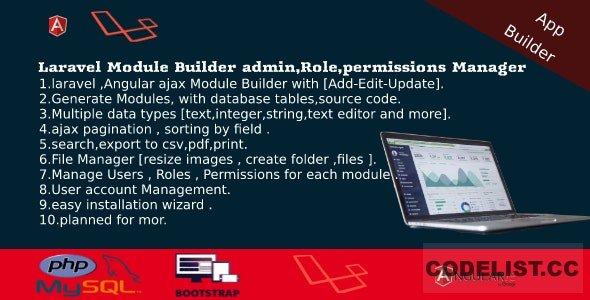 Laravel Admin Builder v2.2 - Angular CRUD+Users, Roles, Permission +Files Manager