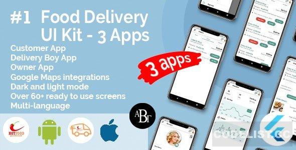 Food Delivery UI Kit in Flutter v1.0.0 - 3 Apps - Customer App + Delivery App + Owner App