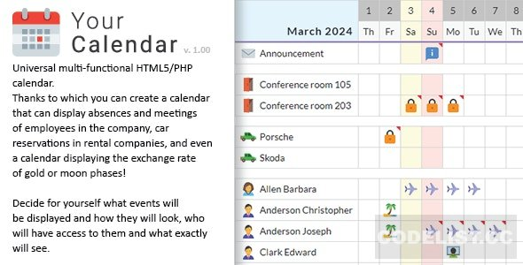 Your Calendar v1.0 - Universal multi-functional calendar. Team, rental, multipurpose calendar
