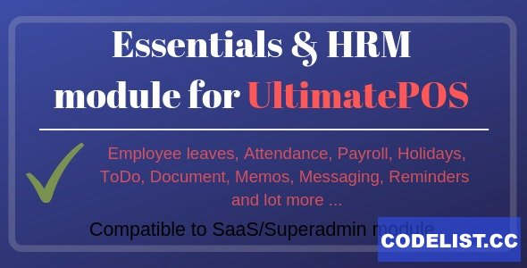 Essentials & HRM (Human resource management) v2.3 - Module for UltimatePOS