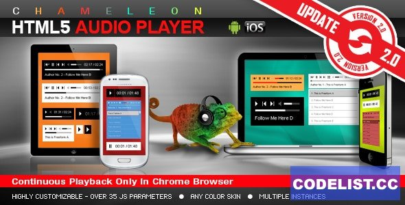 Chameleon HTML5 Audio Player With/Without Playlist v3.4