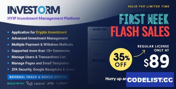 Investorm v1.1.0 - Advanced HYIP Investment Management Platform - nulled