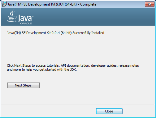 java 9 installer finish
